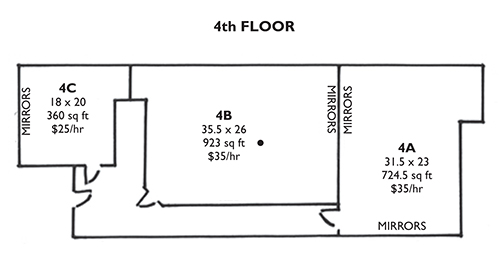 Rehearsal space for rent nyc 1000s of sq ft available for for Photography studio floor plans